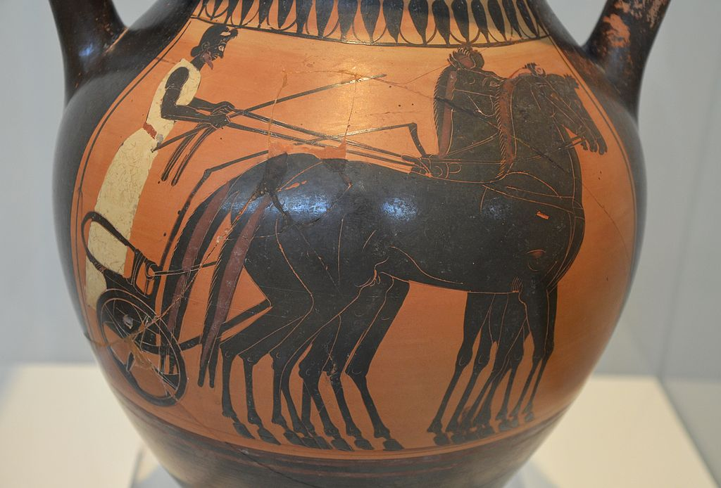 Attic black-figure amphora depicting a quadriga, the charioteer is waiting for the start of the chariot race, ca, 510 BC, National Archaeological Museum of Athens
