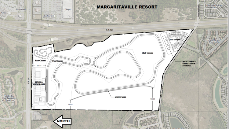 Racing enthusiast Andy Bardar shared his conceptual plan for the Orlando Motorsports Park, which would have separate tracks for tourists and members of the private car club. There's also a kart track near the W192 - S.R. 429 Beltway interchange. (VHB)