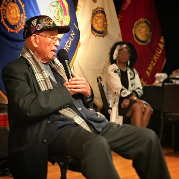 Original Tuskegee Airman, Lt. Col. Robert Friend, 96, speaks at Post 43 in celebration of Black History Month.