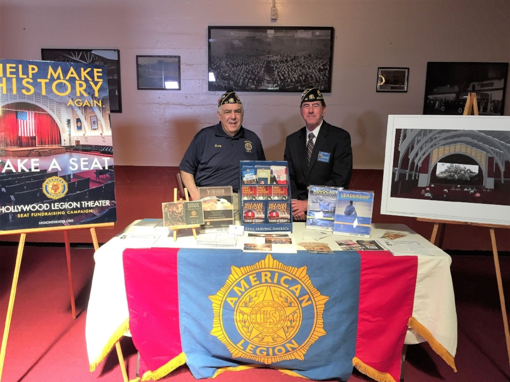 Legion Theater Committee and Executive Committee member, Randy Khan and Commander Tim Shaner man the booth at Product Hollywood OSCARS gifting suites at Post 43, promoting the Legion Theater project and American Legion programs to Hollywood celebrities in attendance Feb. 25.