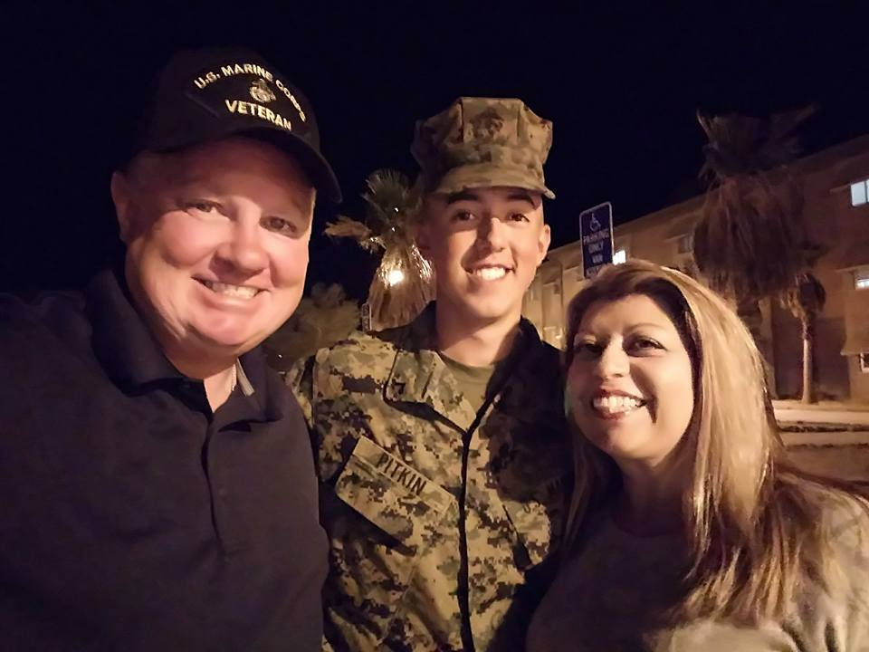 Post 43 Sgt.-at-Arms Larry Pitkin and Auxiliary member Terry Pitkin visited their son and Post 43's youngest Legionnaire,PFC Clayton Pitkin at Marine Corps Base Twenty-Nine Palms, where Clayton is currently training -- a quick family reunion before PFC Pitkin returned to duty!
