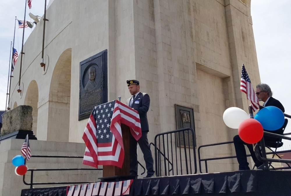 Post 43 2nd Vice Commander, Michael Hjelmstad addresses the audience at the Los Angeles Memorial Coliseum during a ceremony commemorating the 100th anniversary of the United States' entry into World War One, April 6, 2017.   (photo by Dennis Kee)
