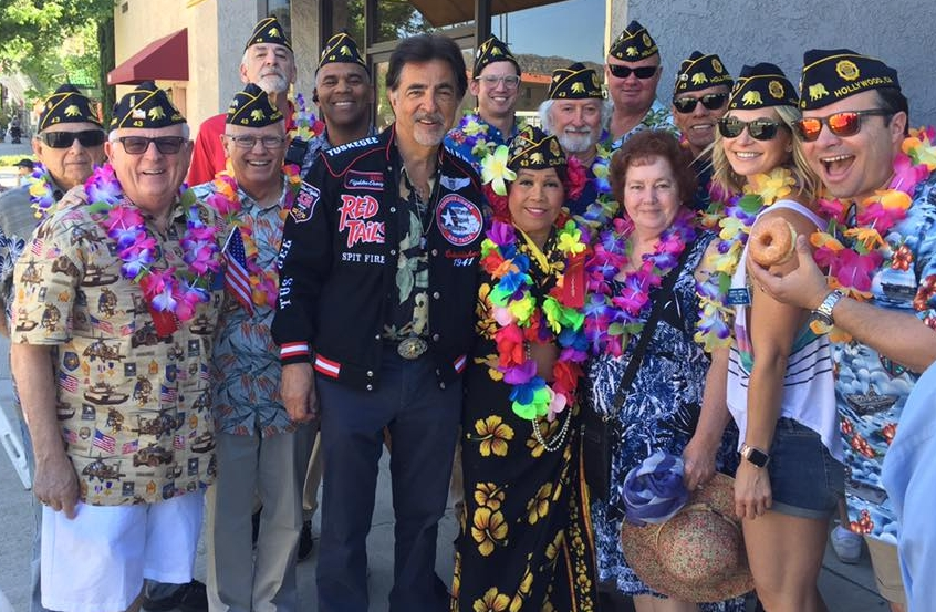 """Post 43 members turned out in their finest Aloha gear to march with other area veterans and longtime veteran and military supporter and Post 43 Honorary Colonel, Joe Mantegna in the annual  Burbank on Parade  April 29, 2017. This year's parade theme was """"Aloha Burbank!""""Special thanks to Karl Risinger and Greg Alaimo for setting this event up for us!"""