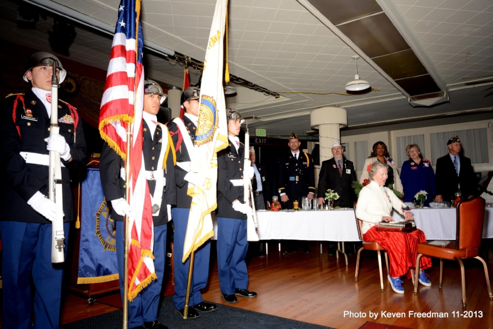 Hollywood High JROTC Cadet Color Guard presents the colors at reception for the American Legion National Commander in 2013.