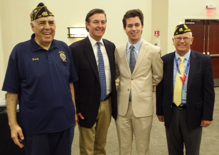 Department of California American Legion High School Oratorical Contest Winner Ryan Wallace poses with his father   at the Department's 99th Convention in Riverside June 24, 2017 together with Post 43 Oratorical Chair/Area & National Judge Randy Kahn and Area 6 Oratorical Commissioner David Gibson. Wallace went on to finish in the top nine in the Nationals and won more than $11,000 total in cash and college scholarships. This was Wallace's third year competing. He received a standing ovation from the convention delegates. The High School Oratorical Contest is a highly competitive patriotic speech contest on topics relating to the United States Constitution.