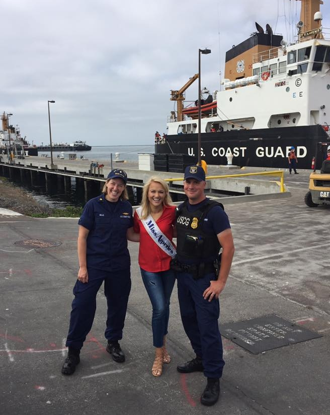 2017 Miss America Savannah Shield visits with members of U.S. Coast Guard Base Los Angeles-Long Beach, July 21, 2017, San Pedro, Calif. Miss America is visiting different military units all over the United States to show her appreciation for all the service members in the United States military. U.S. Coast Guard photo by Petty Officer 3rd class DaVonte' Marrow.