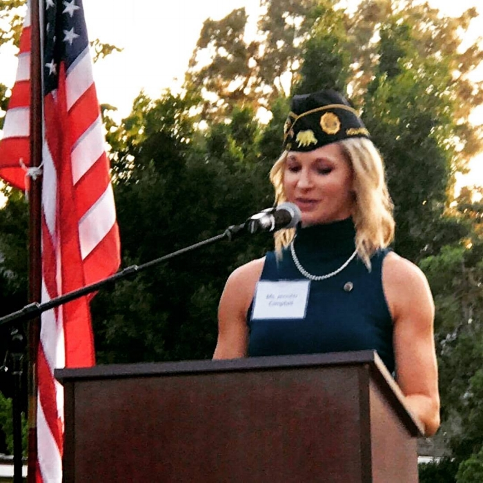 Post 43 Vice Commander Jennifer Campbell gave remarks and offered the toast at the Consulate General of Japan in Los Angeles, Sept. 7, 2017. photos by Dan Flores