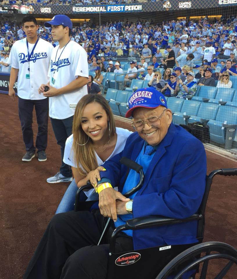 WWII Veteran, legendary Tuskeegee Airman, and Post 43 Honorary Life Member, Lt. Col. Robert Friend, pictured here with National Anthem vocalist Tinashe, was honored as Hero of the Game at the Los Angeles Dodgers NLCS Game 2, Oct. 15, 2017. (photo courtesy Greg Alaimo)
