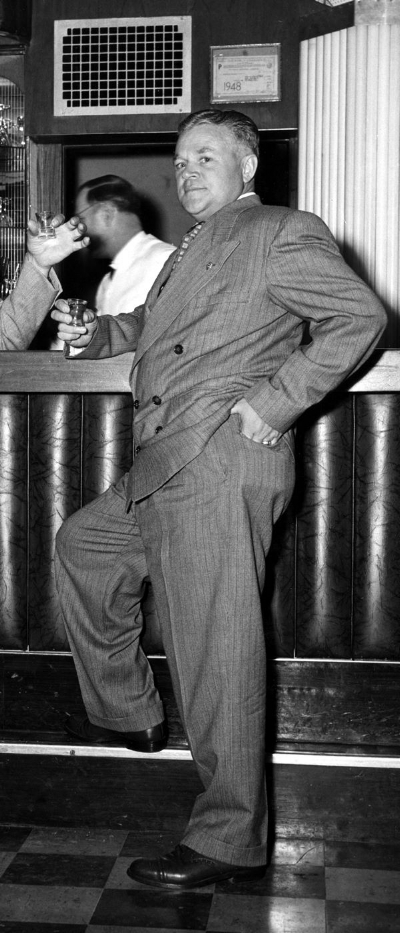 Past Commander Harry William Ansel (1900-1981) kicking back in the Art Deco Bar at Post 43's Memorial Clubhouse circa late 1940s.