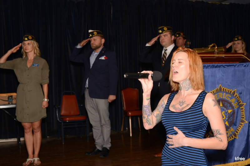 Recording artist Winter Rae sings the National Anthem to open up Post 43's annual Veterans Day program.