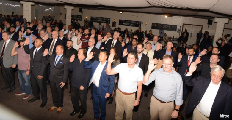 Post 43 inducted a record 57 new members at the annual Veterans Day program, Nov. 11, 2017.