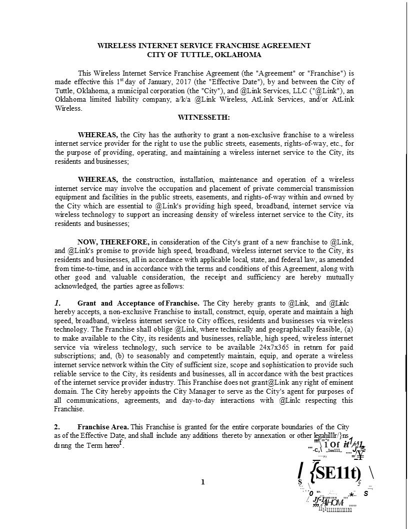 Wireless Internet Franchise Agreement 1