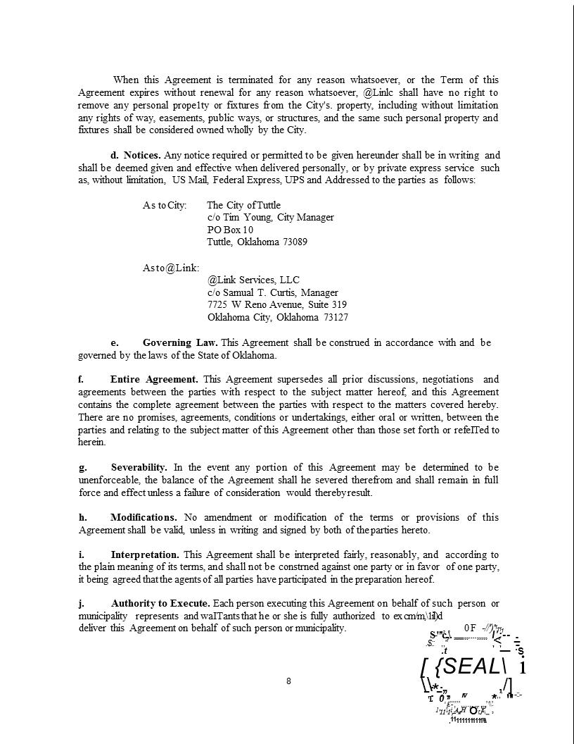 Wireless Internet Franchise Agreement 8