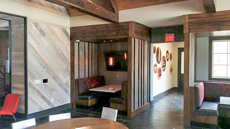 Custom Cafe Booths and Reclaimed Barn Wood wall - 2.jpg