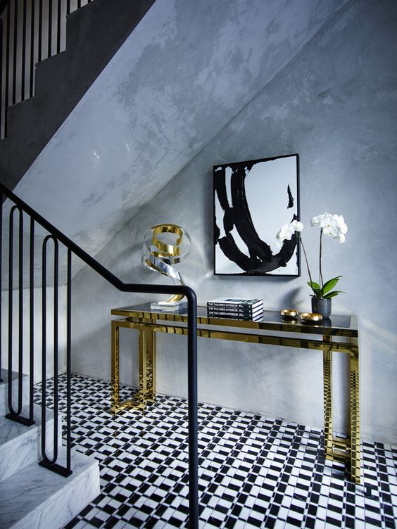 BE BOLD - Like powder rooms, foyers are meant to be a bit more over-the-top. Choose graphic wallpaper or an amazing floor of harlequin or the like! Don't be afraid to have fun with this space and make it a statement! Welcome those guests in a bold YOU stated style!