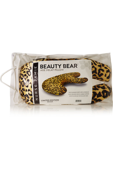 BEAUTY REST - Head pillows are quite ridiculous looking, necessary on a long flight, but ugly as all hell! We've actually tracked down a chic one, and in leopard print to boot! Nurse Jamie's Age Delay Pillow designed supports the face and neck while minimizing the appearance of fine lines by helping your skin retain its natural oils. Ear plugs and earphones are also helpful to noise cancel everything while you get some Z's!