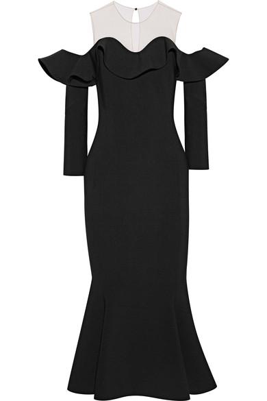 OSCAR DE LA RENTA Tulle-paneled wool-blend midi dress.jpg