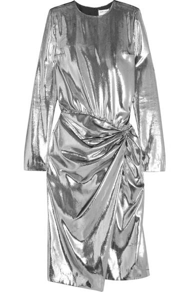 SAINT LAURENT Gathered metallic velvet midi dress.jpg