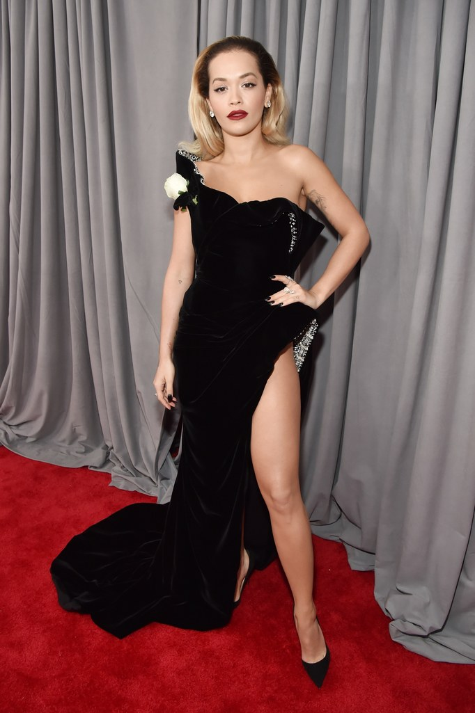 Rita Ora - in Ralph & RussoWe always love seeing what frock Rita will adorn herself with!  This high slit leg with the beadwork right at the thigh is a stunner.