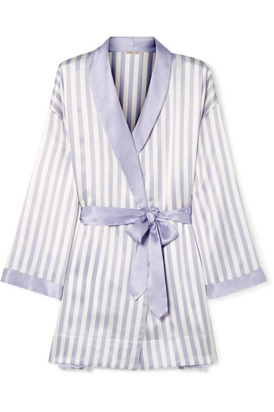 Striped Robe - Nothings feels more luxurious than lounging in a pretty robe at home—especially this Amanda Fatherazi Bunny appliquéd striped silk-charmeuse robe!