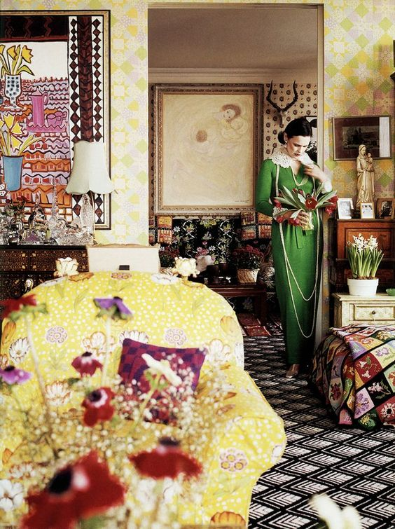 c.1975 - Vanderbilt in the living room of her United Nations Plaza apartment, photographed by Horst P. Horst for Vogue