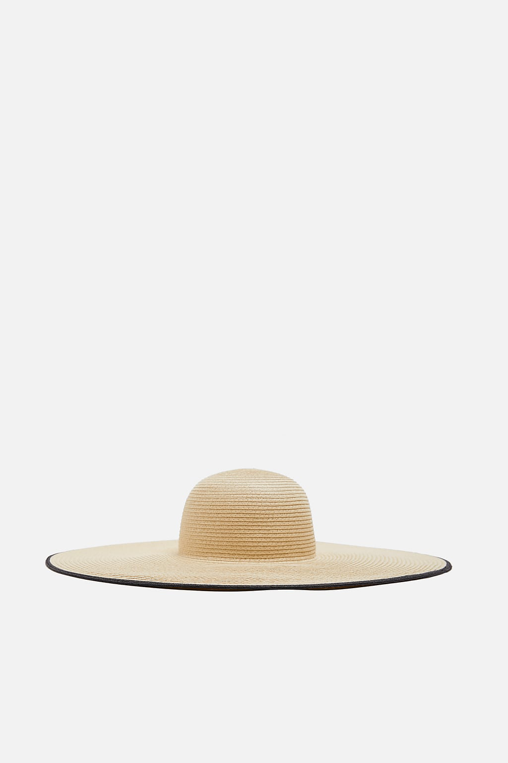 Zara Sun Hat - Natural Large sun hat with a contrast border