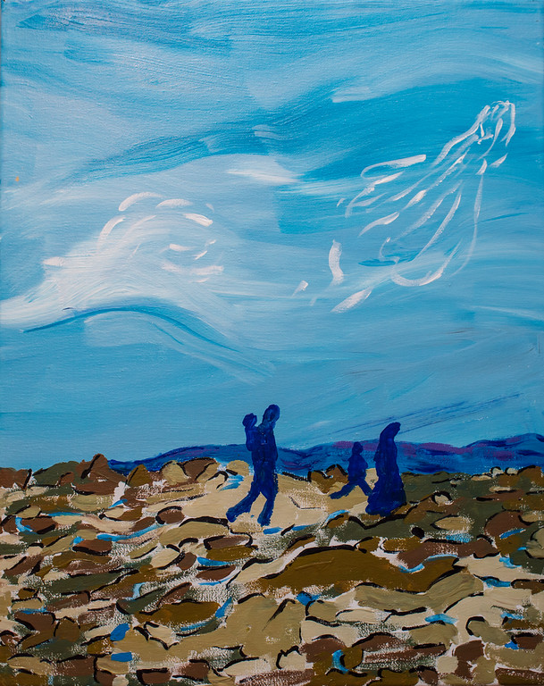 "May angels protect you on your journey to safety    20""X16"" acrylic on canvas    Using the middle Eastern theme of angels, a prayer for the safety of the refugees."