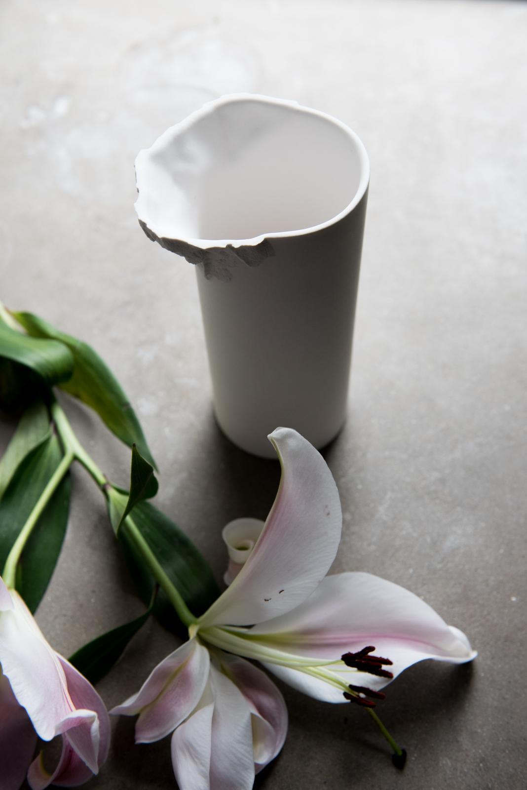 Porcelain Vase - Ian McIntyre. Originally designed in 2008 - redesigned in 2016 for M&R. Made on Bornholm