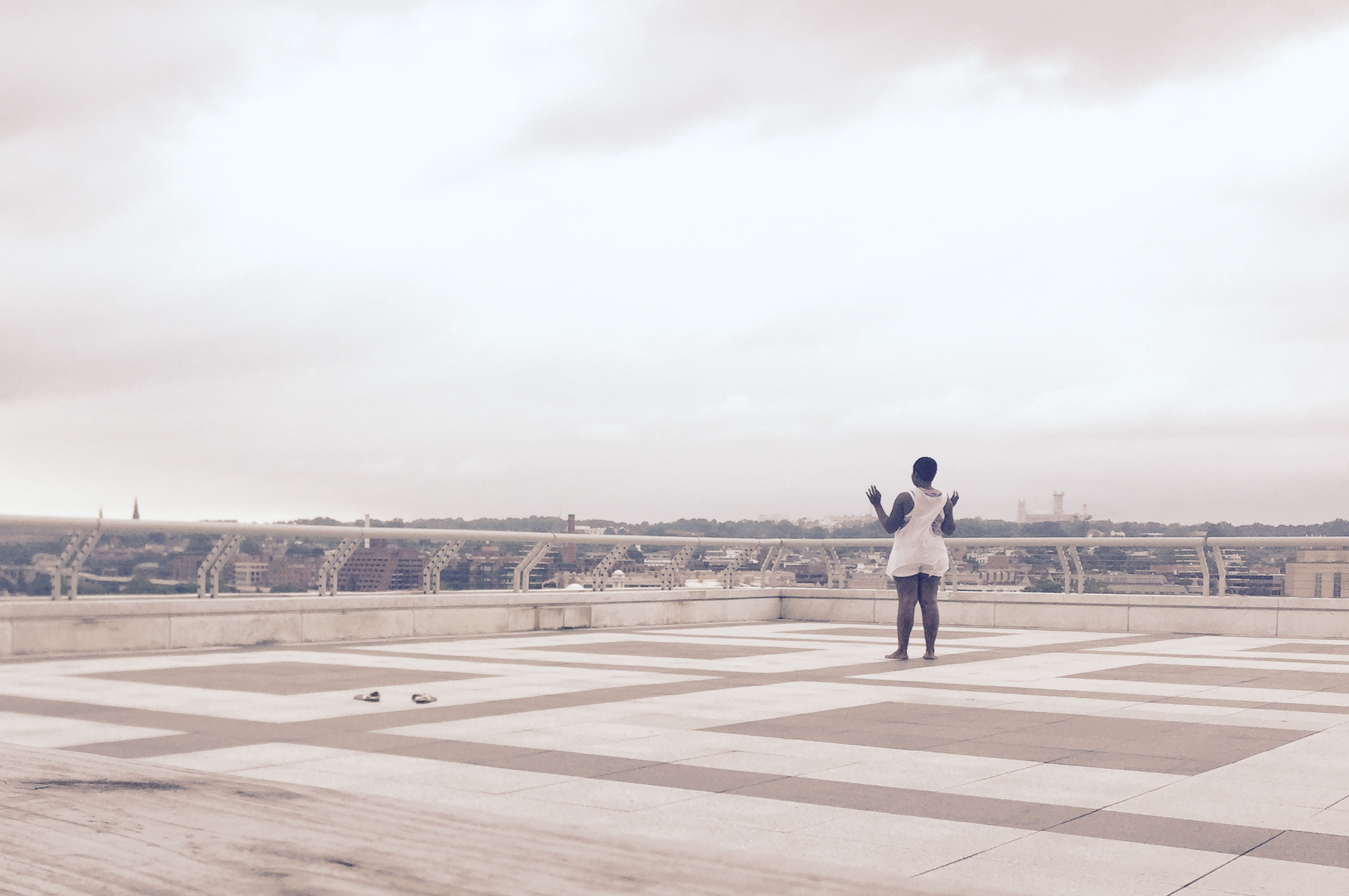 Mommy dancing in one of her favorite places, the roof of the Kennedy Center, Washington, DC
