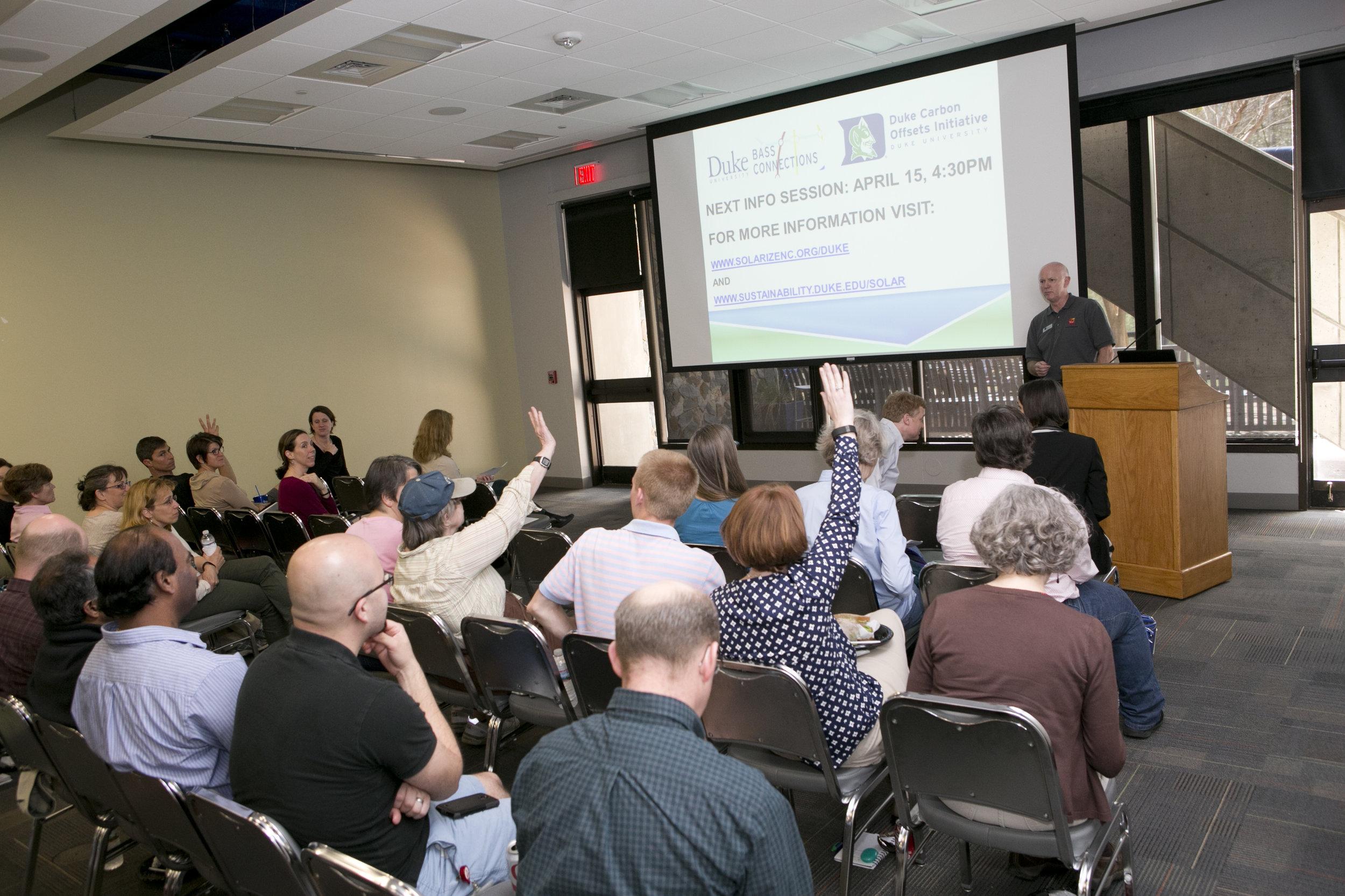 Information session for the Solarize Duke program.