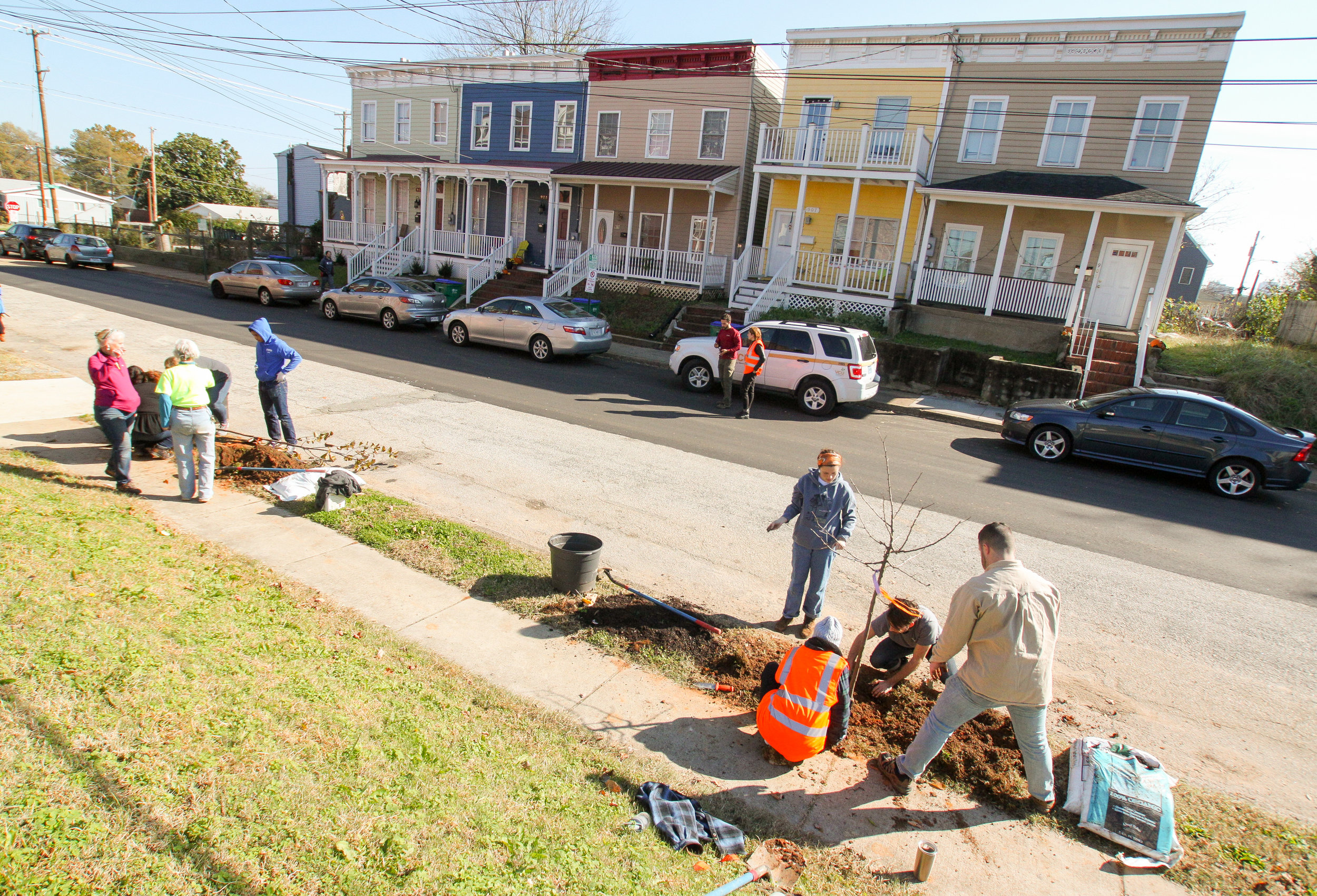 Volunteers planting trees in the Carver neighborhood.