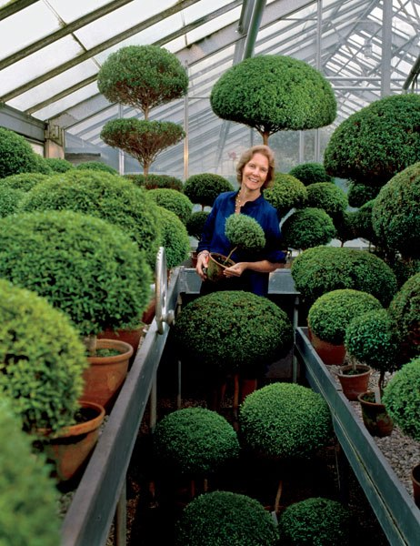 """Mrs. Mellon's home at Oak Spring, in Upperville, VA, is perhaps the greatest tribute to her """"ceaseless interest, passion and pleasure in gardens and books."""" She is pictured here in an Oak Spring Greenhouse.(Photo: Horst P. Horst/Conde Nast Archive)"""