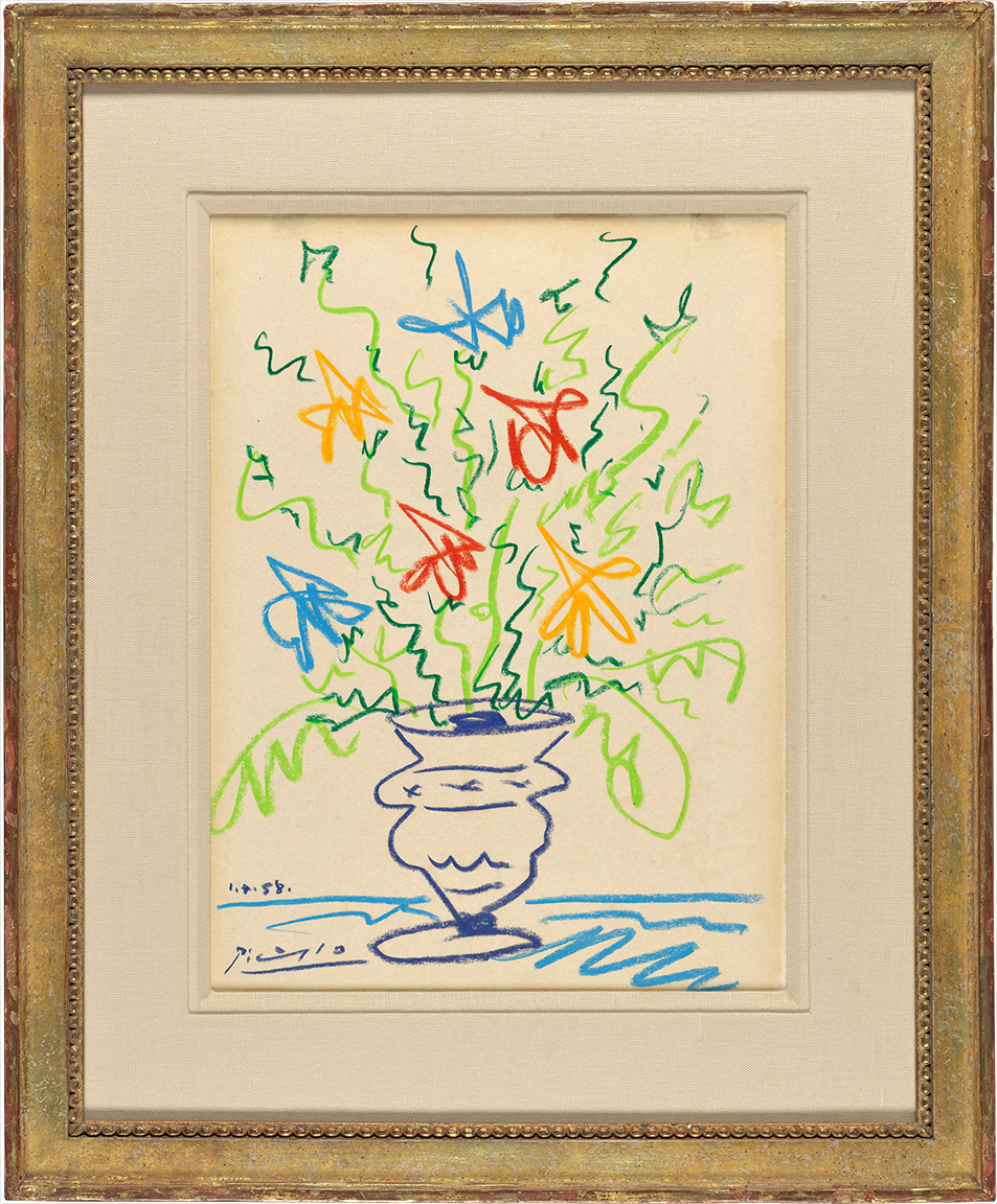 Pablo Picasso (Spanish) embellished this lithograph of a flower vase (ca. 1958) with autograph additions in crayon.