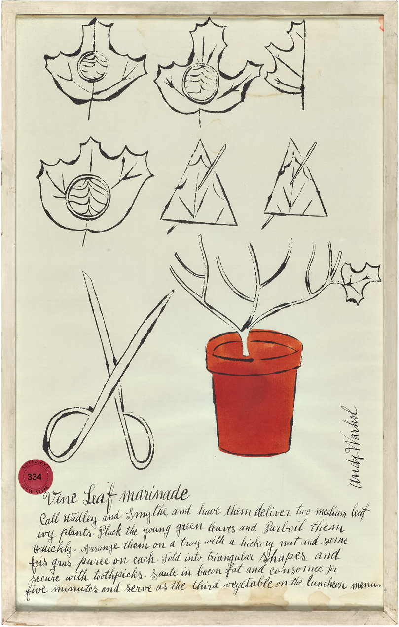 Andy Warhol (American) appended a handwritten recipe to the bottom of this drawing of a grape leaf.  Vine Leaf Marinade , ca. 1955.