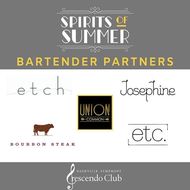 Are you a cocktail connoisseur? Then this is the event for you! Enjoy specially crafted cocktails created by bartenders from @etchrestaurant, @etc.nashville, @unioncommon, @josephineon12th, and @bourbonsteaknash!  Spirits of Summer tickets are available at the link in our bio!