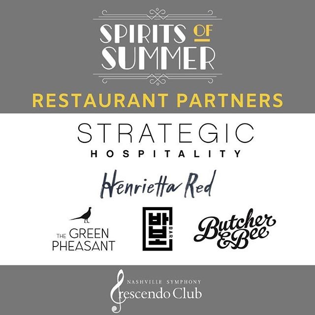 Not only will Spirits of Summer have great cocktails, you will also enjoy some tasty bites from some of Nashville's best restaurants! Big shout out to our food partners!  @strategichospitality | @henrietta_red | @greenpheasantnash | @babo_nashville | @butcherandbee