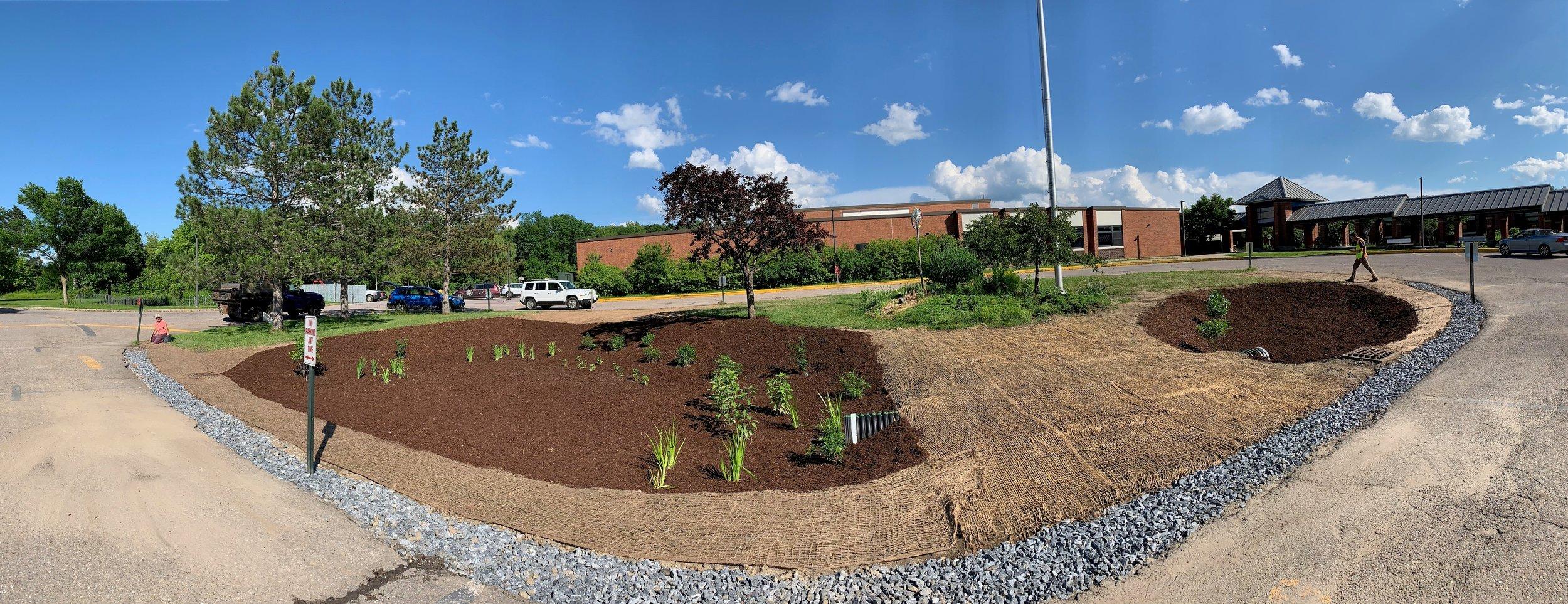 The completed Shelburne Community School rain garden