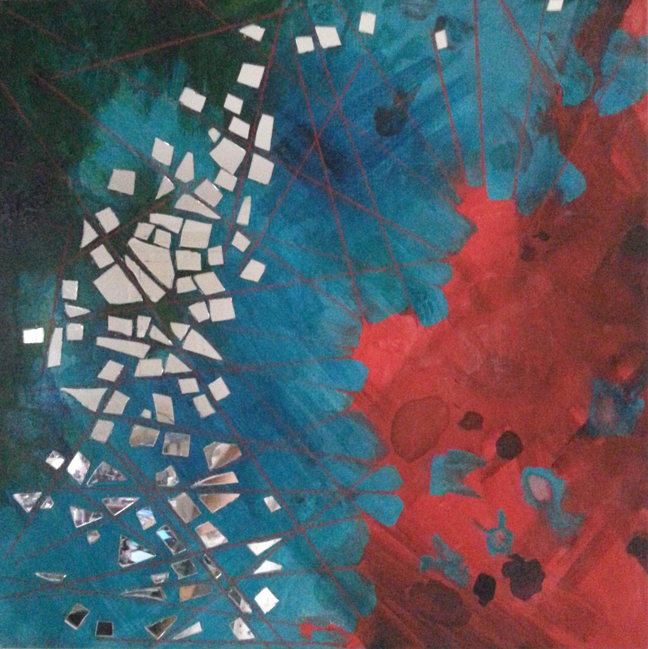 "Counterforce , Acrylic, mirror on canvas, 18""x18"""