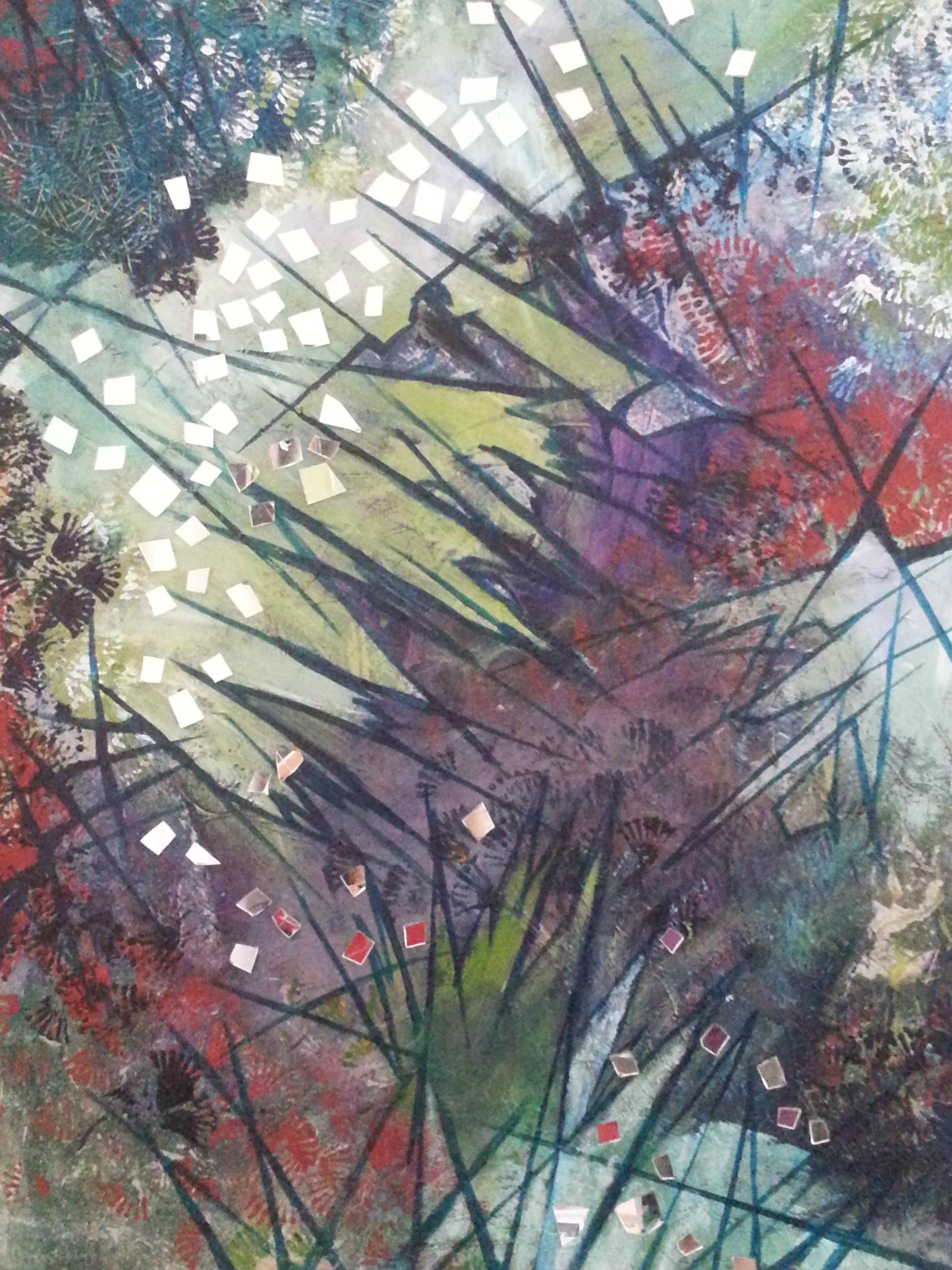 "Abyss , Acrylic, mirror on canvas, 36""x24"""