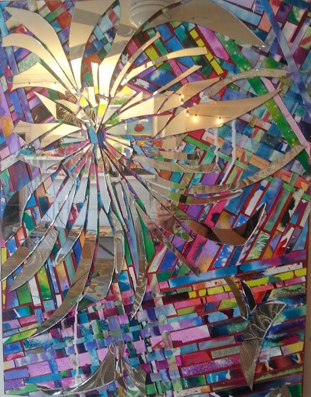 """Hanabi,  Acrylic, mirror, paper,watercolor on canvas, 18""""x24"""""""