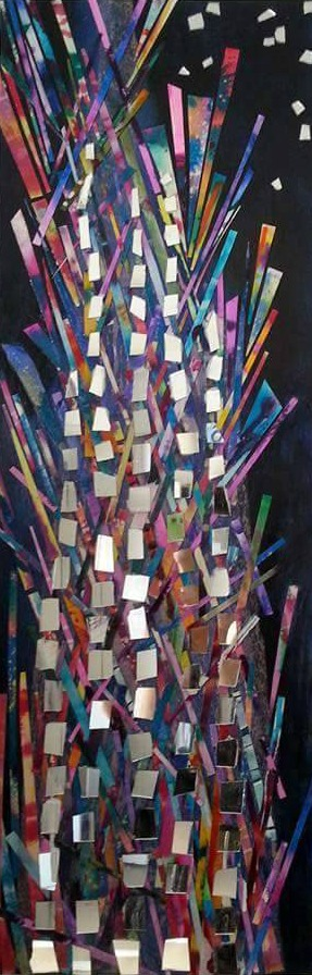 "Skyscraper,  Acrylic, mirror, paper, watercolor on wood panel,12""x36"""