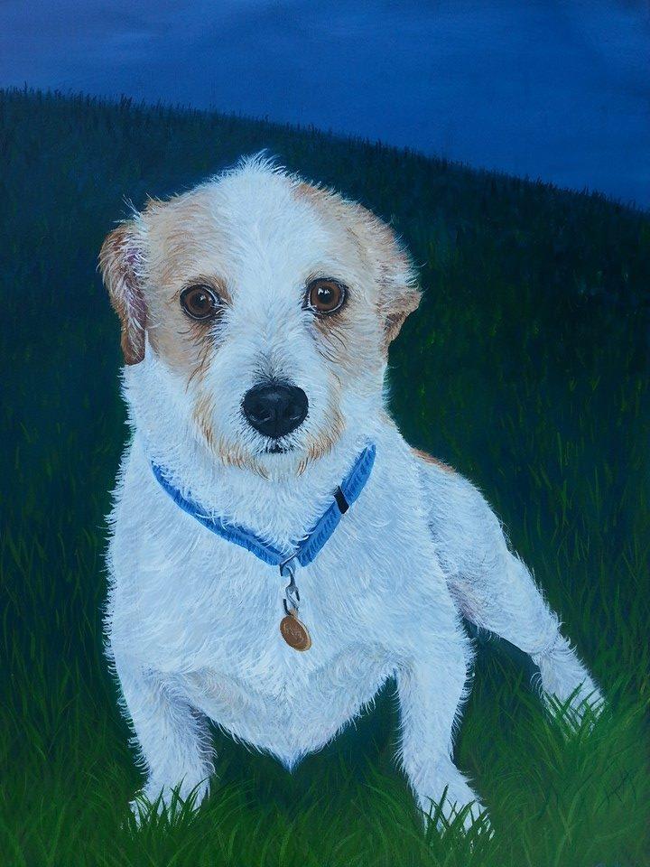 "Fritz on the Grassy Knoll , Acrylic on Canvas, 16""x20"""