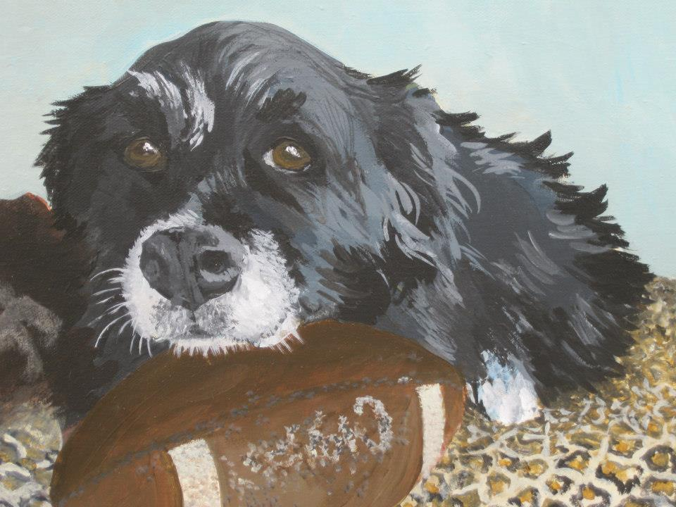 """Tempest and Her Ball  , Acrylic on Canvas, 11""""x14"""""""