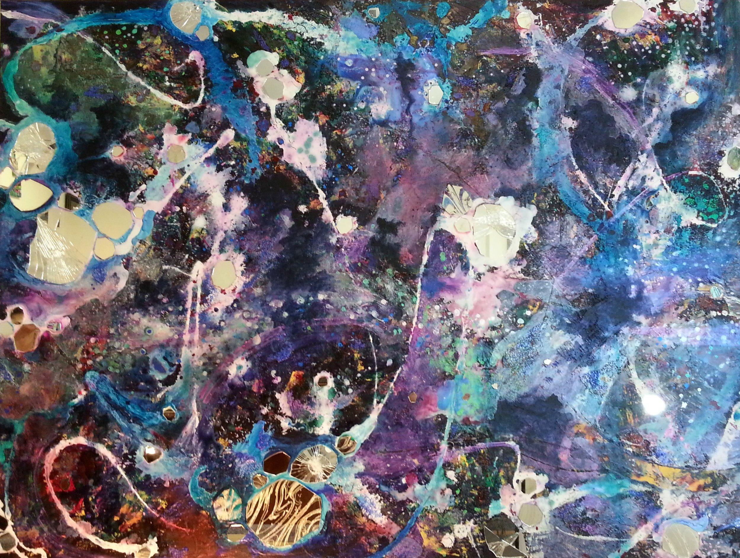 "Stellar , Acrylic, mirror, paper, watercolor on canvas, 36""x48"""
