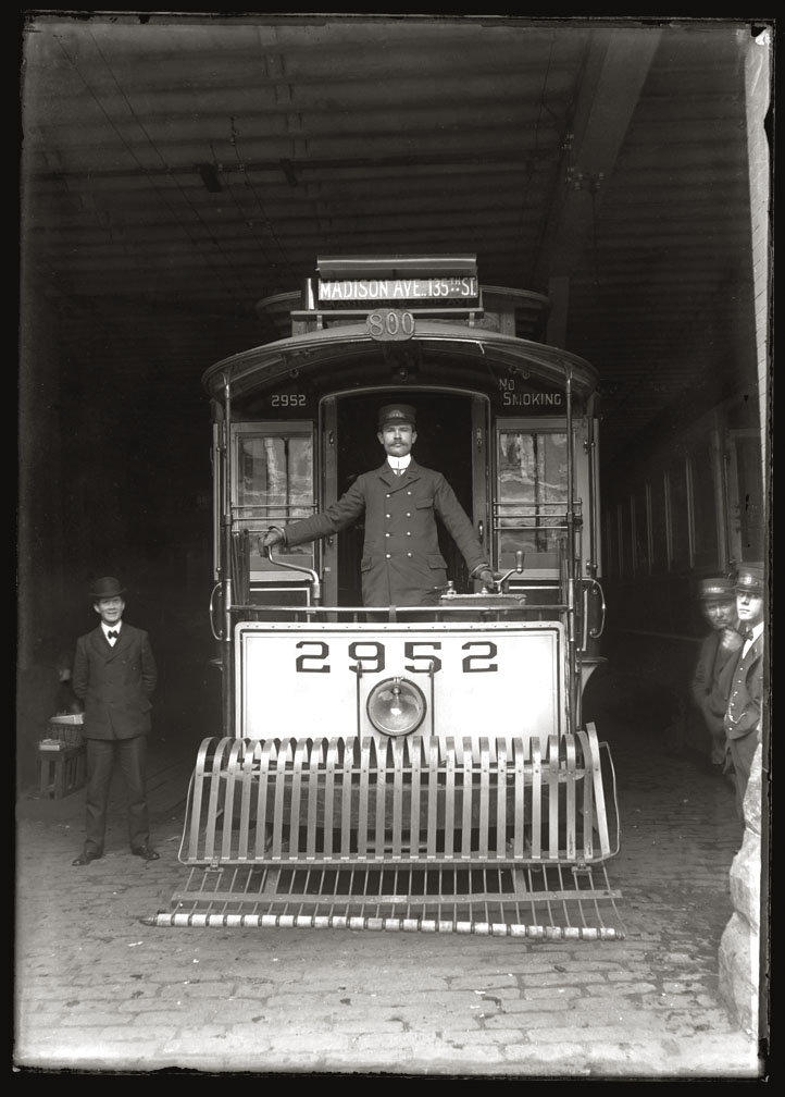 Madison ave & 135th st Trolley c.1910 from original 5x7 glass plate negative