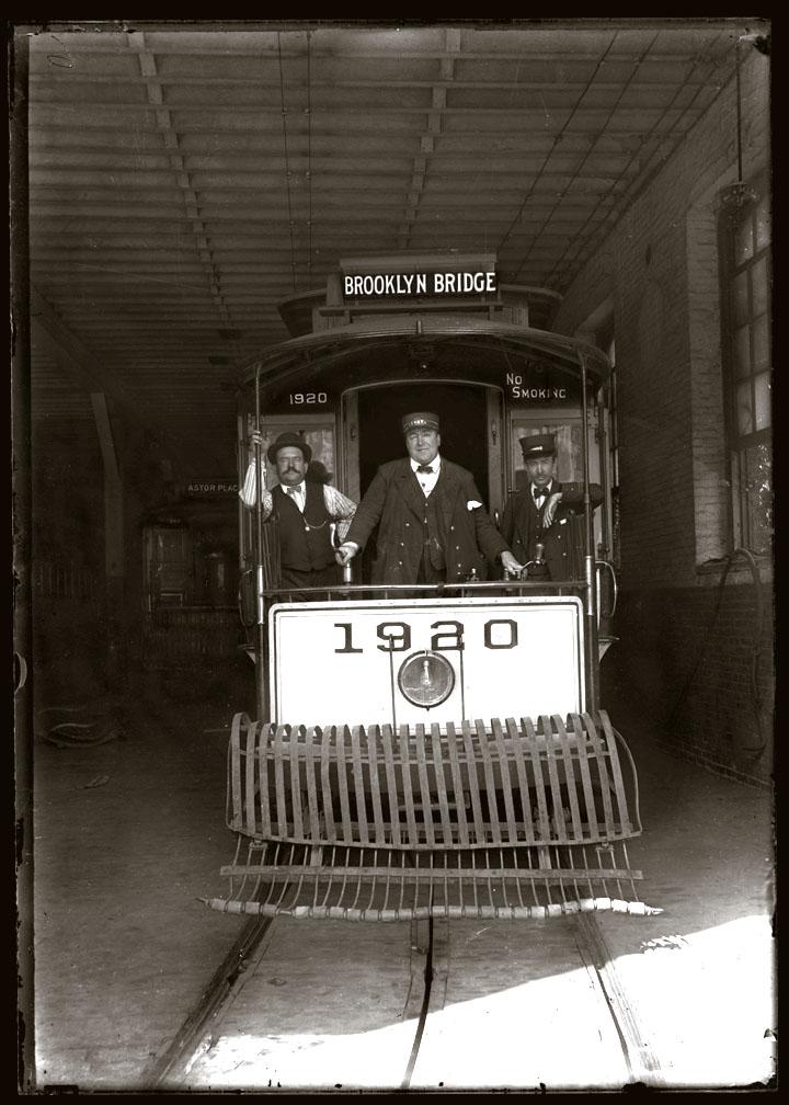 Brooklyn Bridge / Astor Place in background Trolley c.1910 from original 5x7 glass plate negative