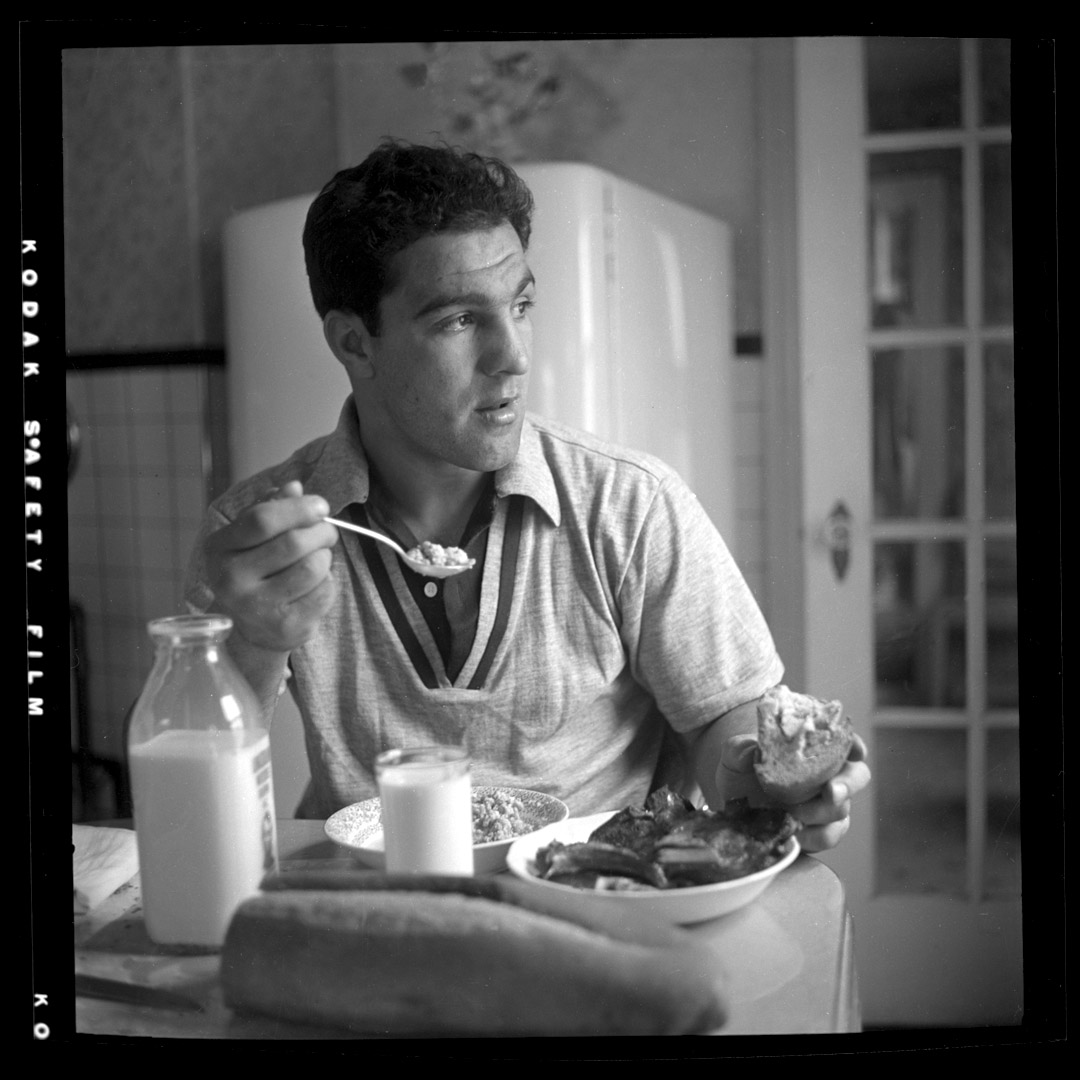 Rocky Marciano having breakfast c.1952 from original 2.25 negative