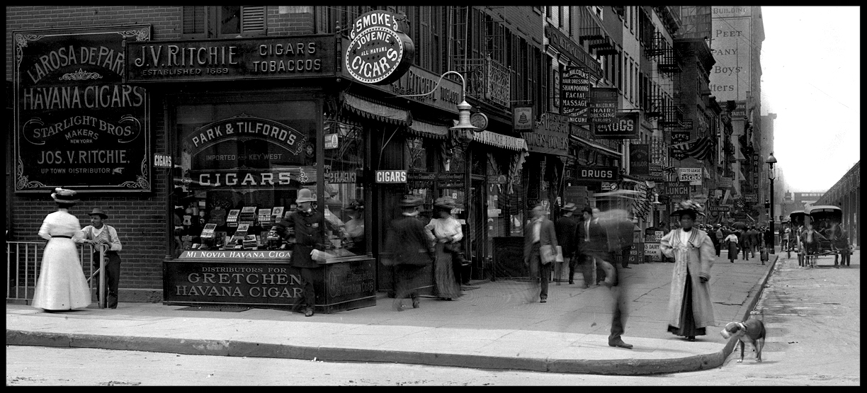 Cop on Corner 36th st & 6th ave. 1913 from original 8x10 glass plate negative