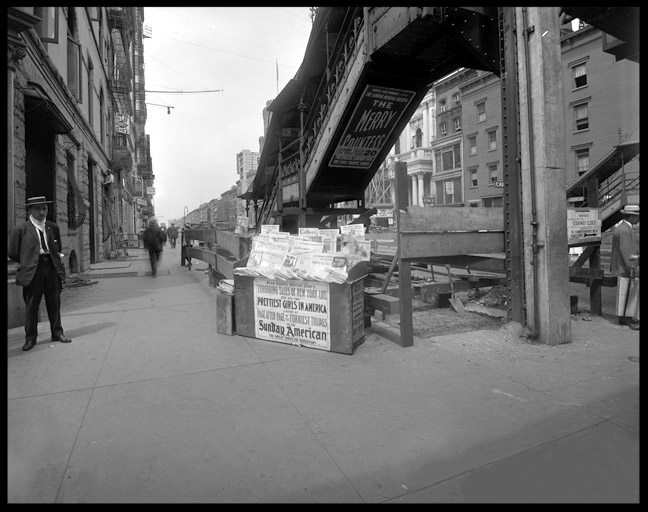 Union Square Newspaper Stand c.1912 from original 8x10 glass plate negative