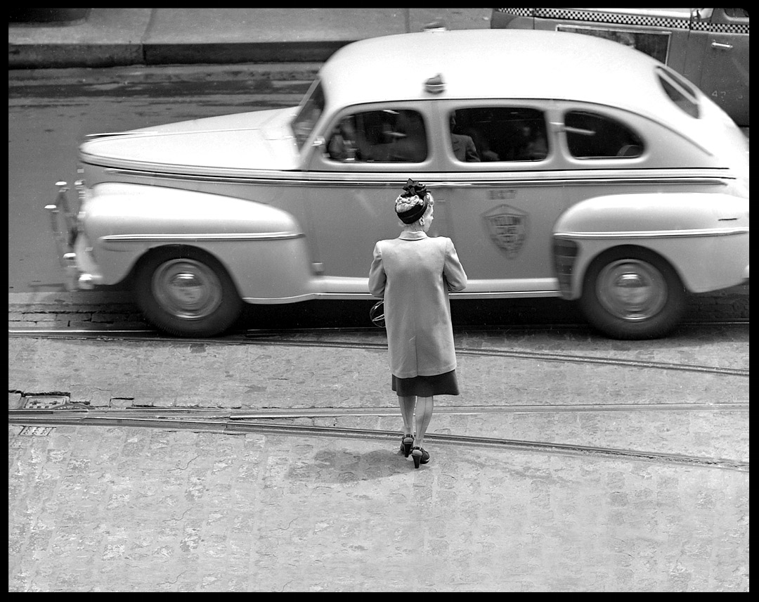Woman Crossing Street. Chicago c.1947 from original 4x5 negative